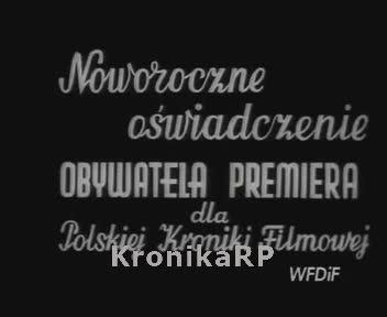 Noworoczne oświadczenie premiera dla Polskiej Kroniki Filmowej